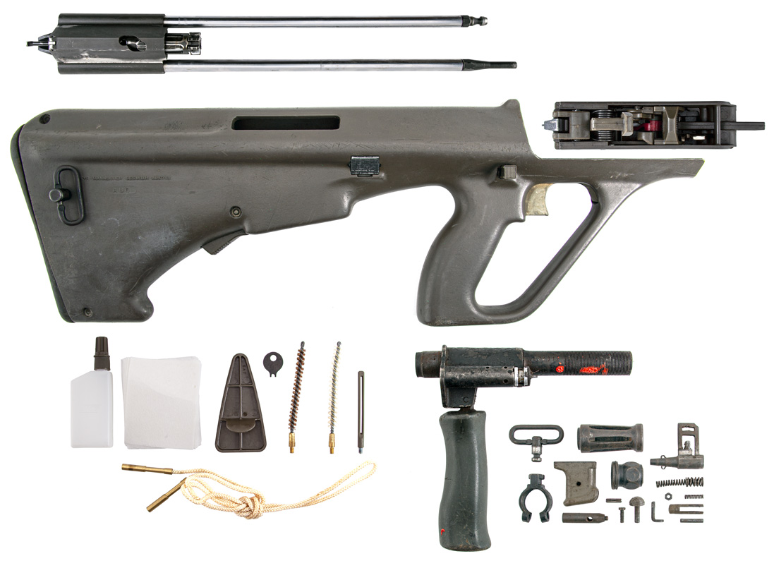 Original Austrian Steyr AUG 5.56x45 NATO RH Bullpup Rifle Parts Kit w/ Cleaning Kit - Surplus - Good Condition